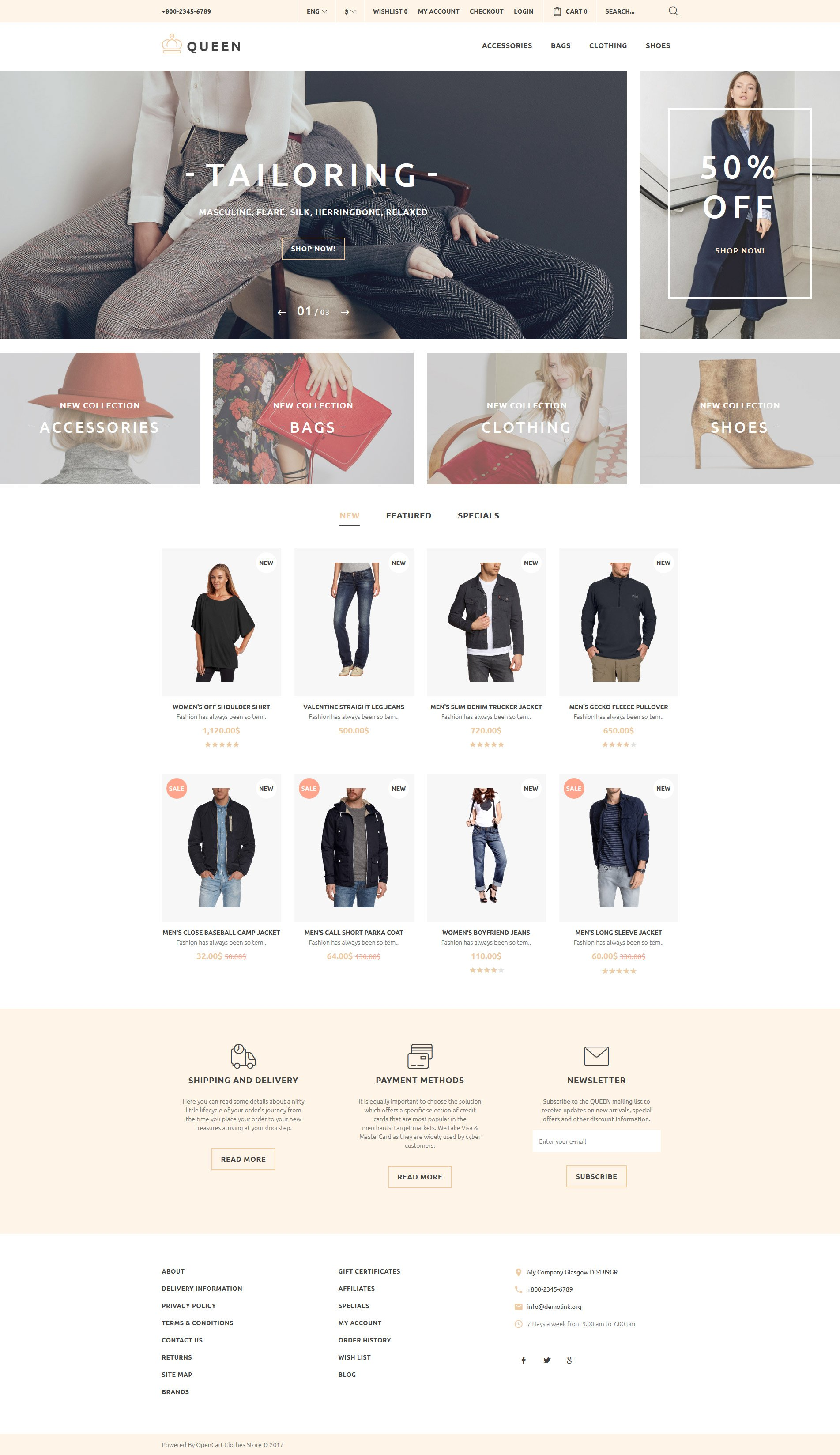 Clothing store opencart theme queen fashion store opencart template new screenshots big zoom in live demo maxwellsz