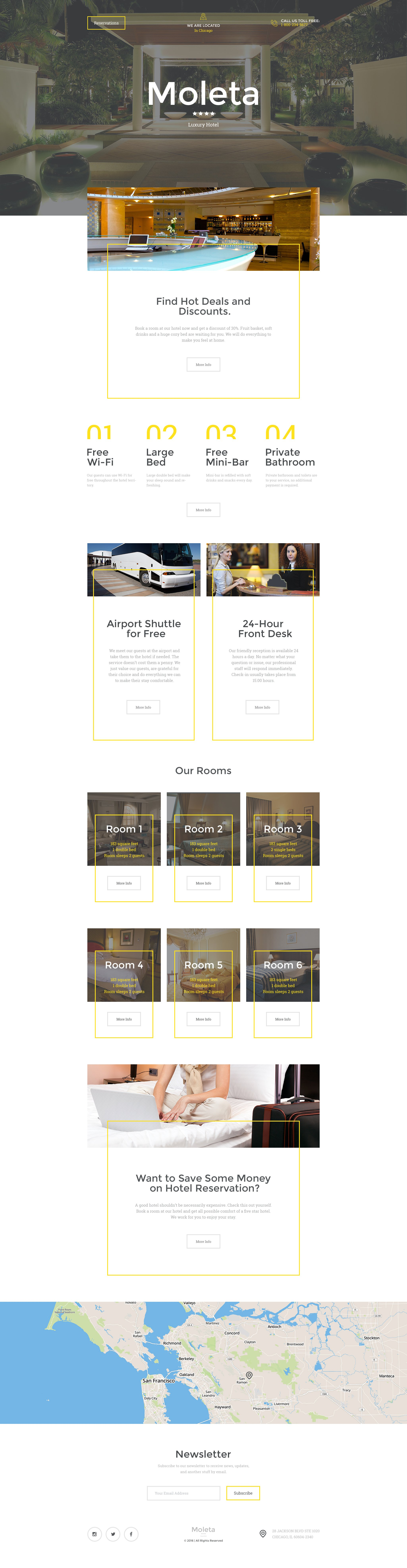 Responsive Landingspagina Template over Hotels №58247 - screenshot