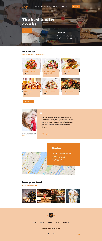 Responsywny szablon strony www #58219 na temat: kawiarnia i restauracja - zrzut ekranu