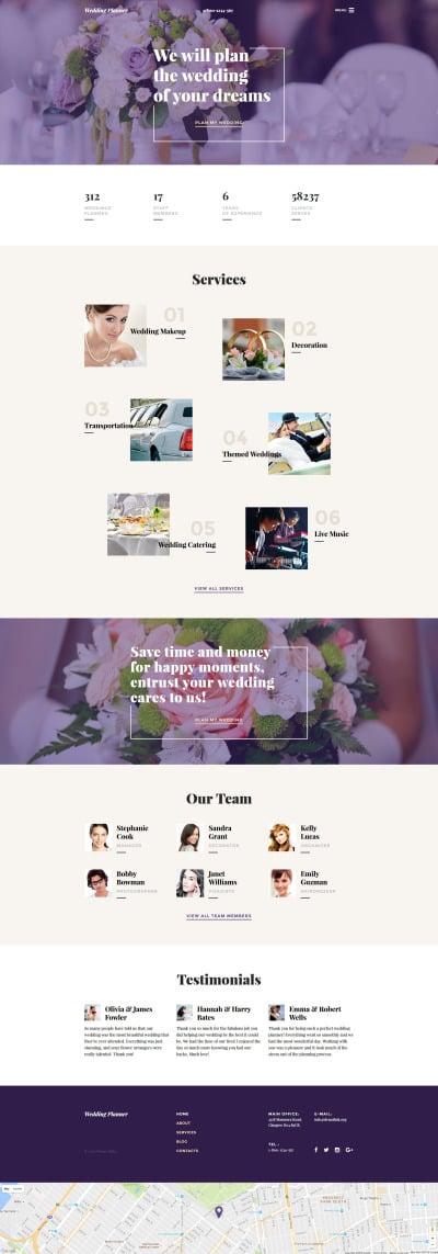 Wedding Planner Responsive Weboldal Sablon