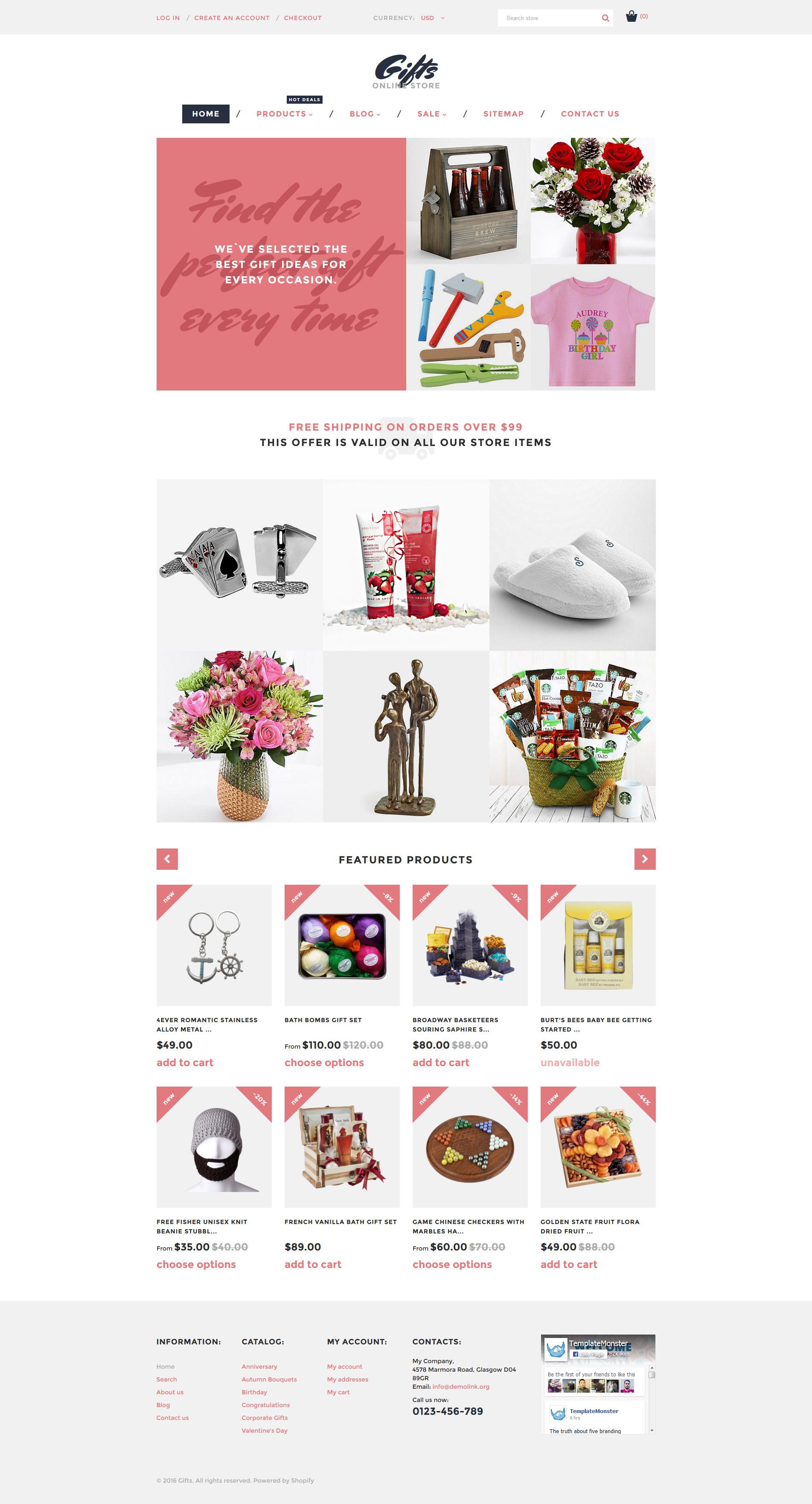 Reszponzív Gifts Online Store Shopify sablon 58278