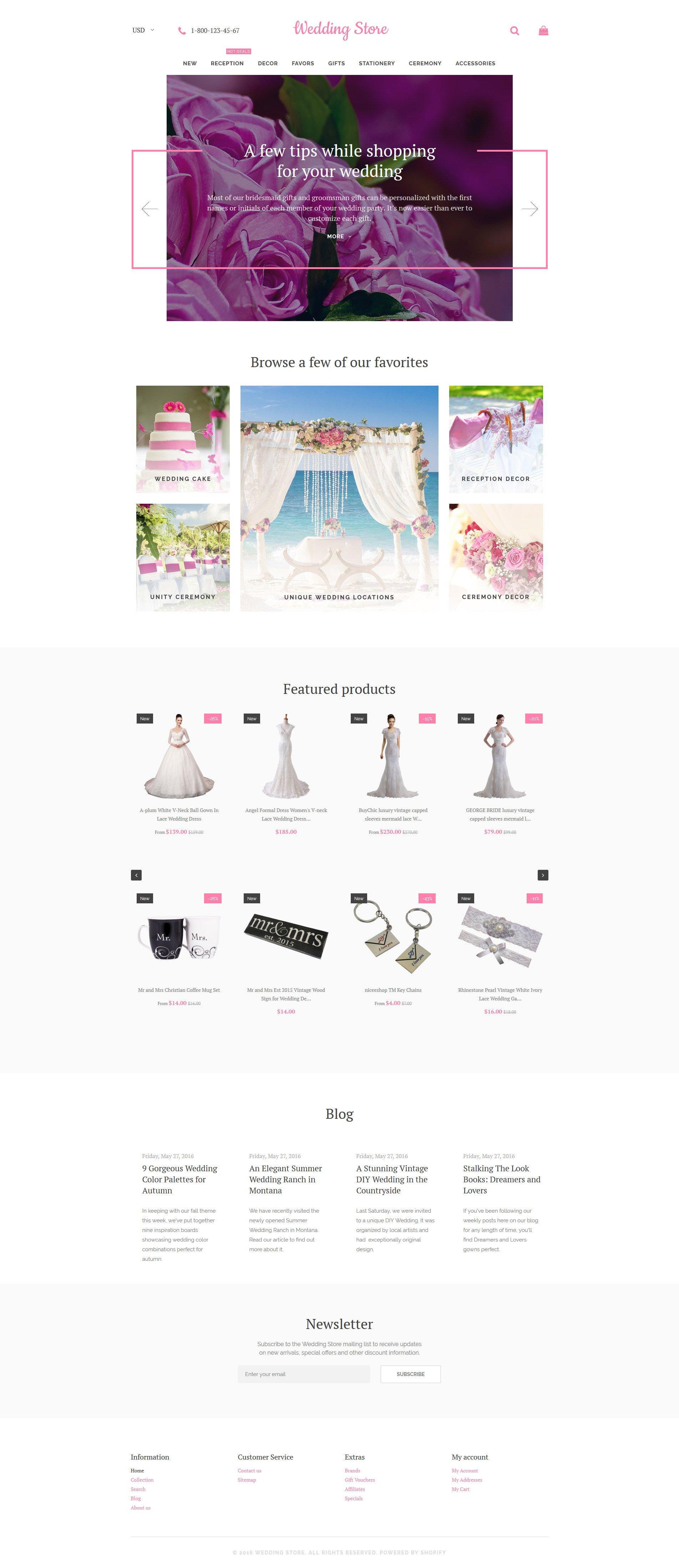 Reszponzív Wedding Store Shopify sablon 58236 - képernyőkép