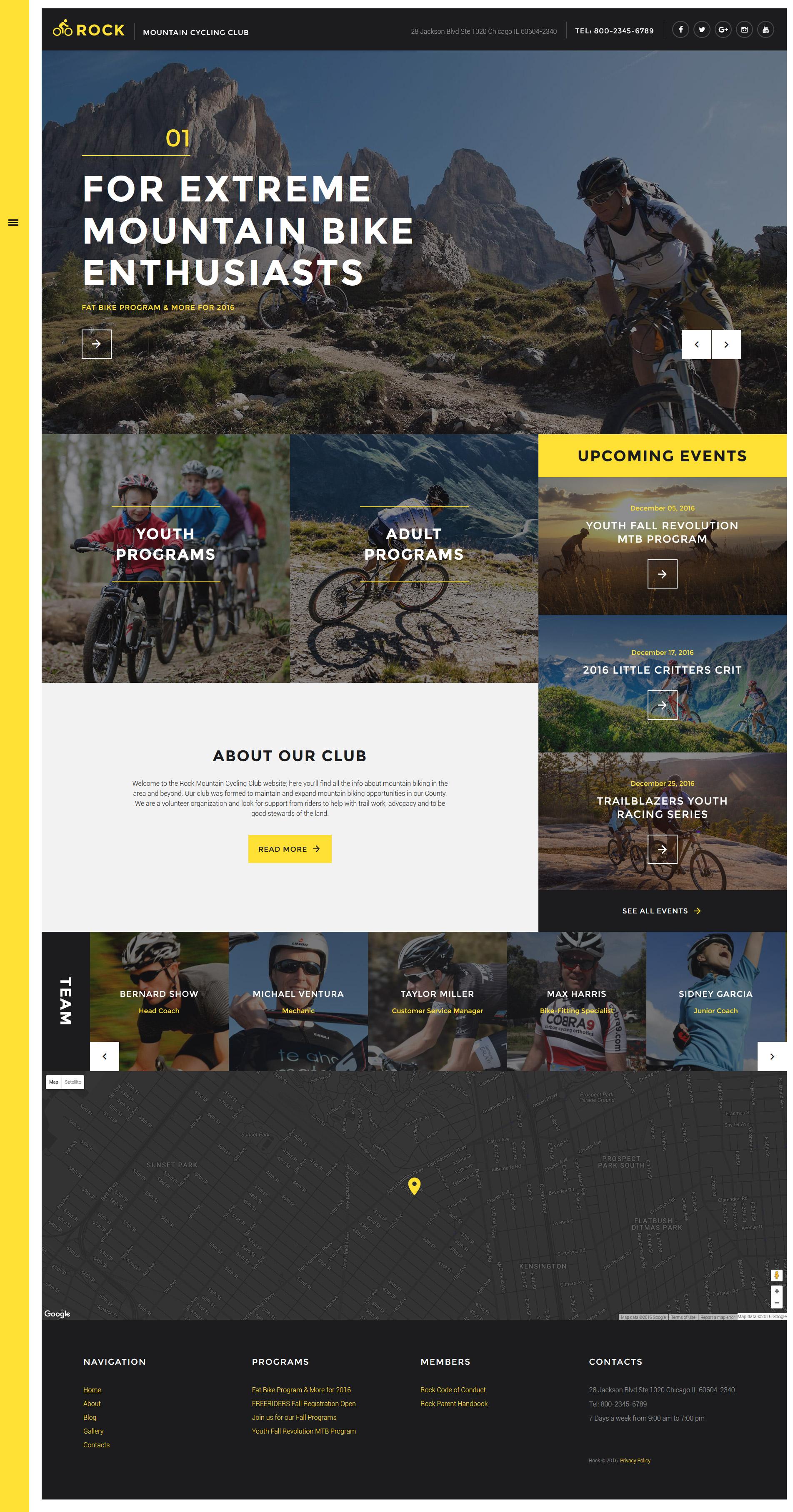 """Rock - Mountain Cycling Club Responsive"" - адаптивний Шаблон сайту №58299"