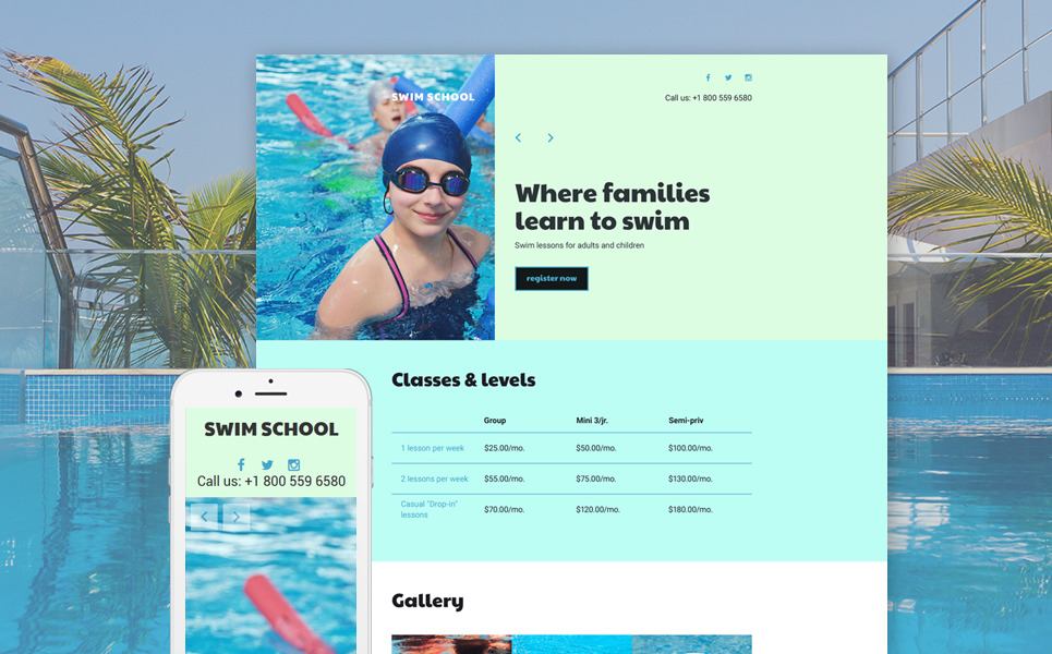 Swimming School Responsive Landing Page Template New Screenshots BIG