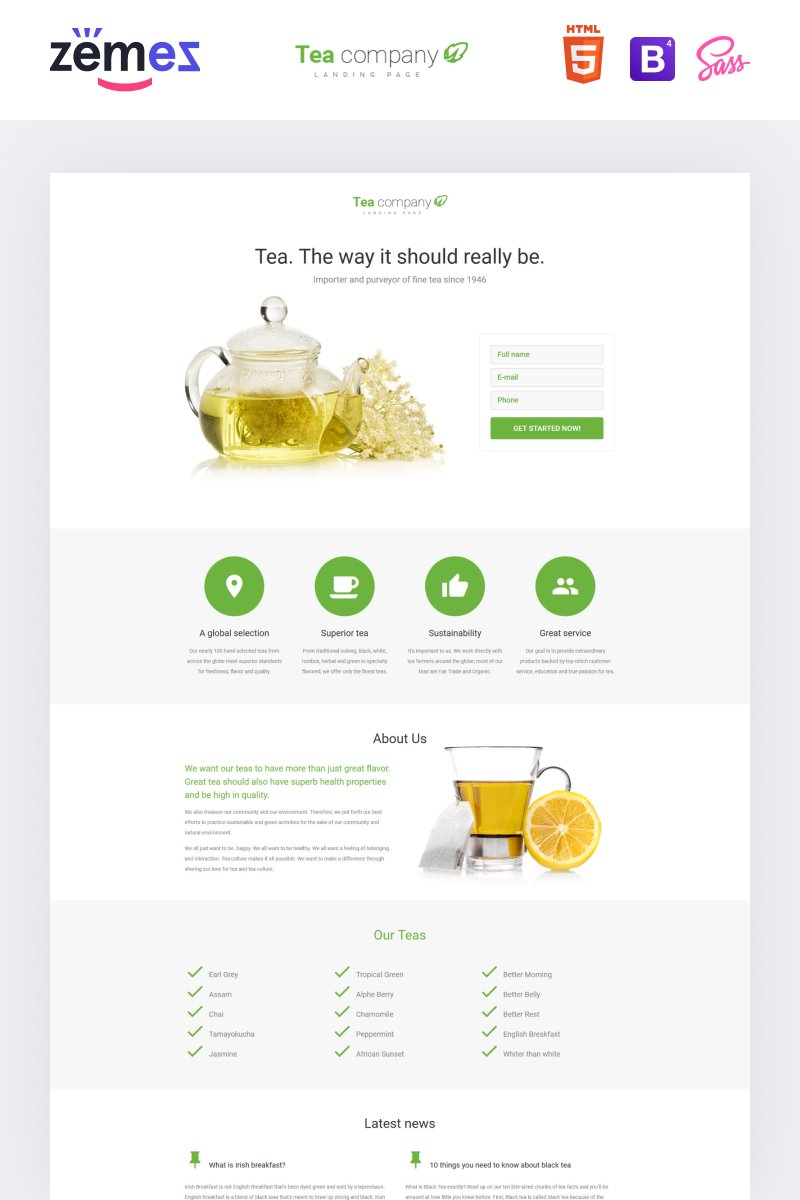 Tea Company - Drink Store Clean HTML Landing Page Template