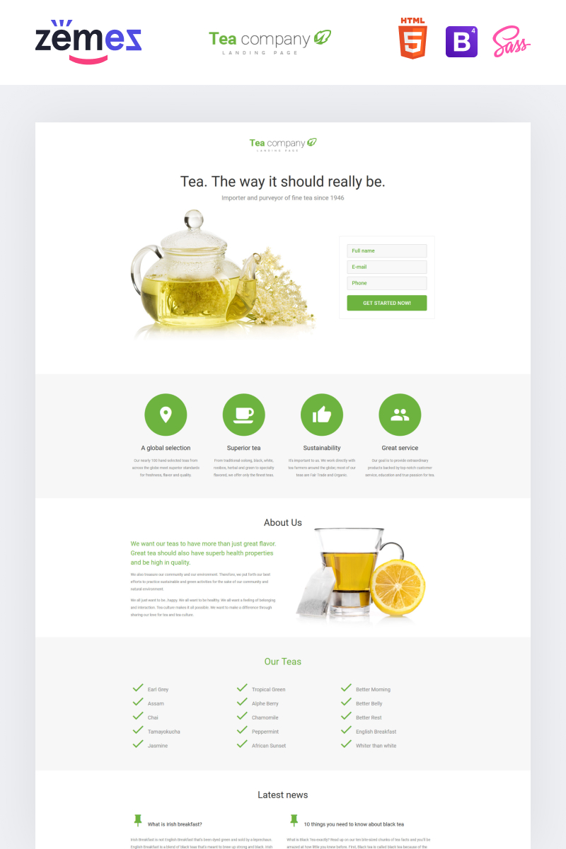 """Tea Company - Drink Store Clean HTML"" Responsive Landingspagina Template №58269"