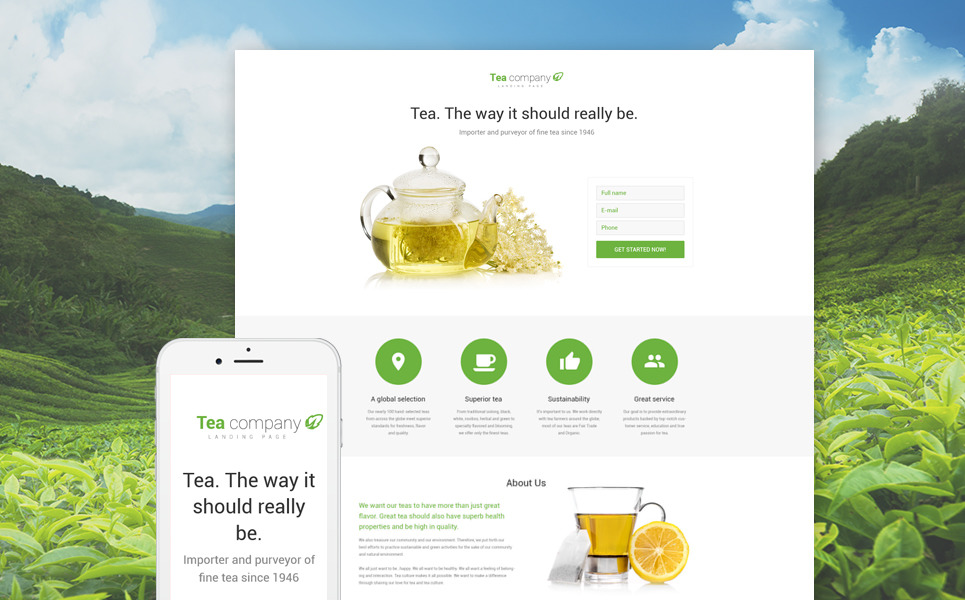 Tea Shop Responsive Landing Page Template New Screenshots BIG