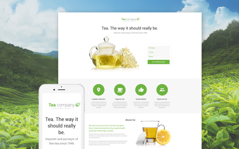 Tea Shop Responsive Landing Page Template New Screenshots BIG