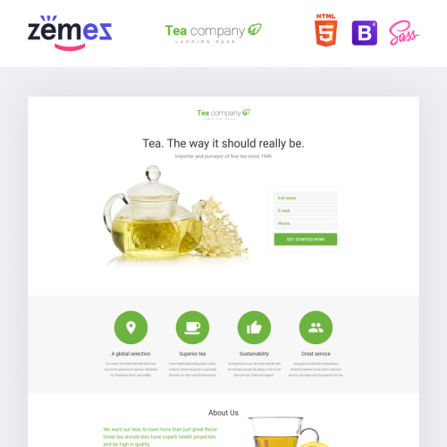 Tea Company - Responsive Landing Page Template