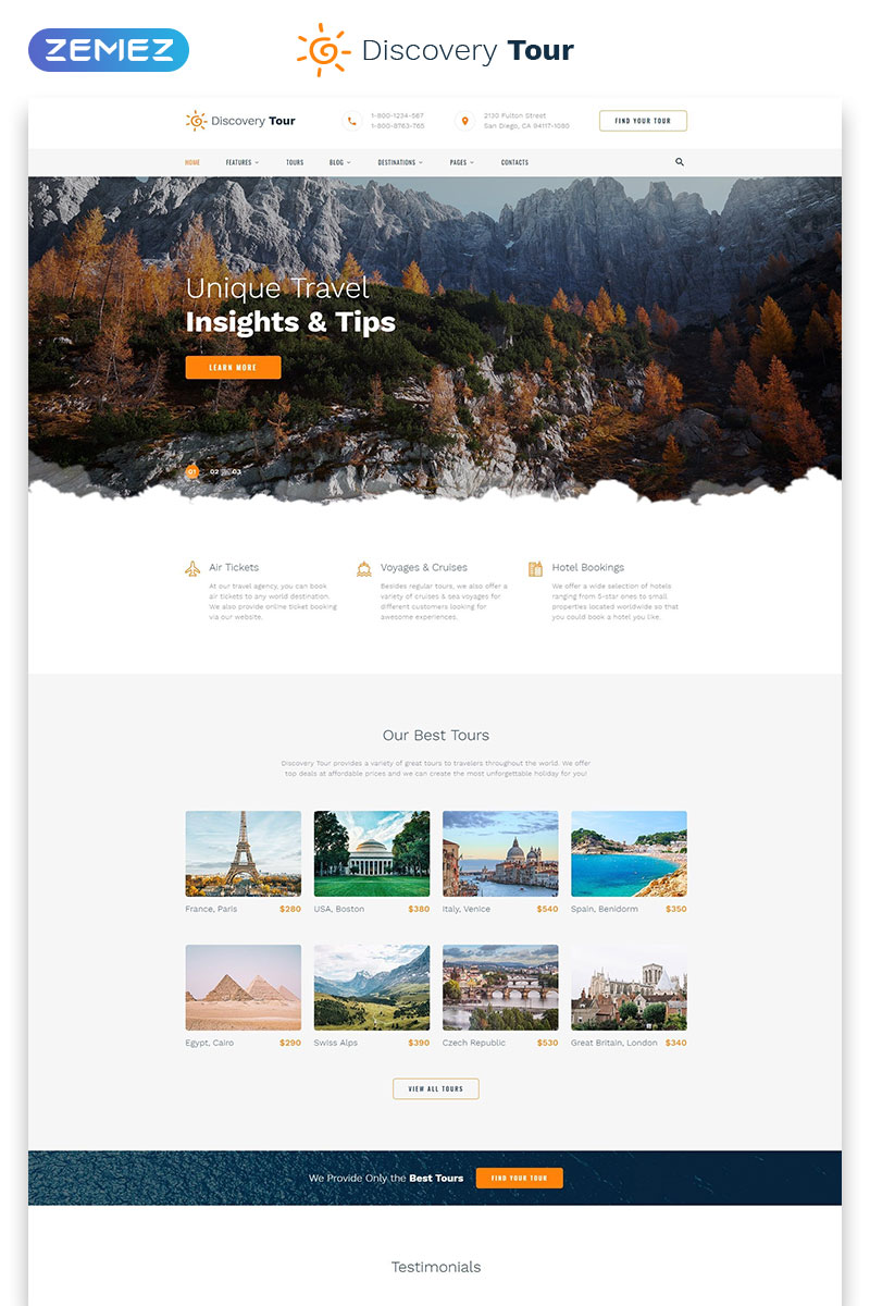 "Template Siti Web Responsive #58204 ""Discovery Tour - Travel Multipage Clean HTML"""