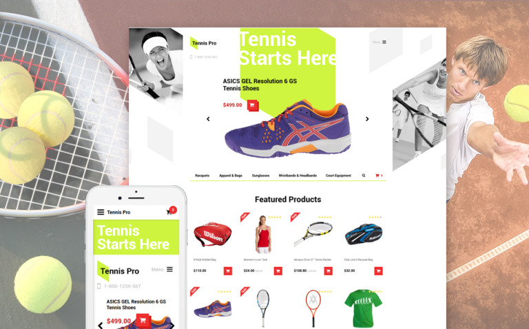 Tennis Pro OpenCart Template New Screenshots BIG