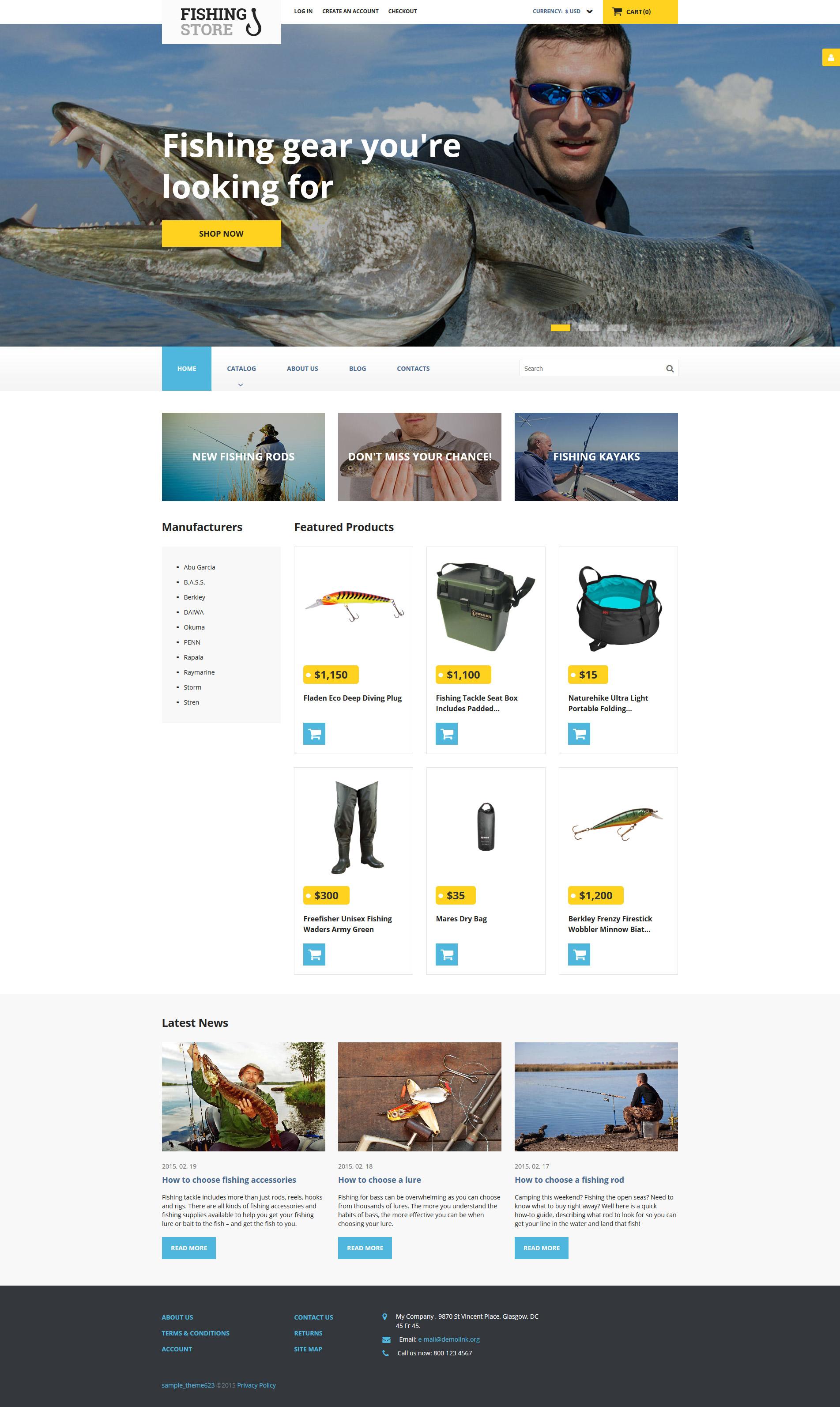 VirtueMart шаблон №58215 на тему рыбалка