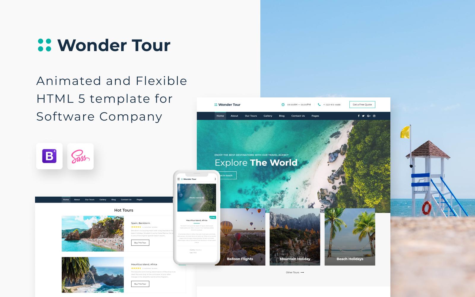 """Website Vorlage namens """"Wonder Tour - Travel Agency Multipage HTML"""" #58200"""