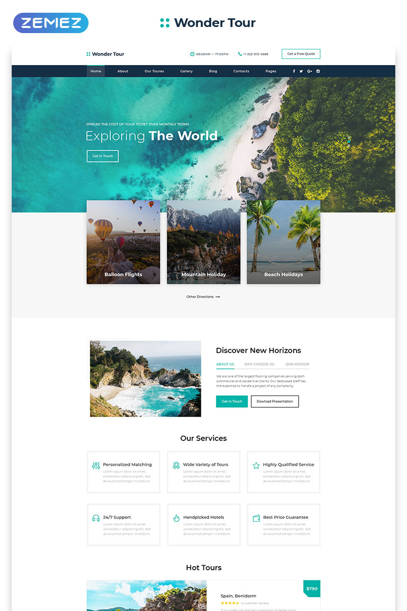 """Wonder Tour - Travel Agency Multipage HTML"" modèle web adaptatif #58200"