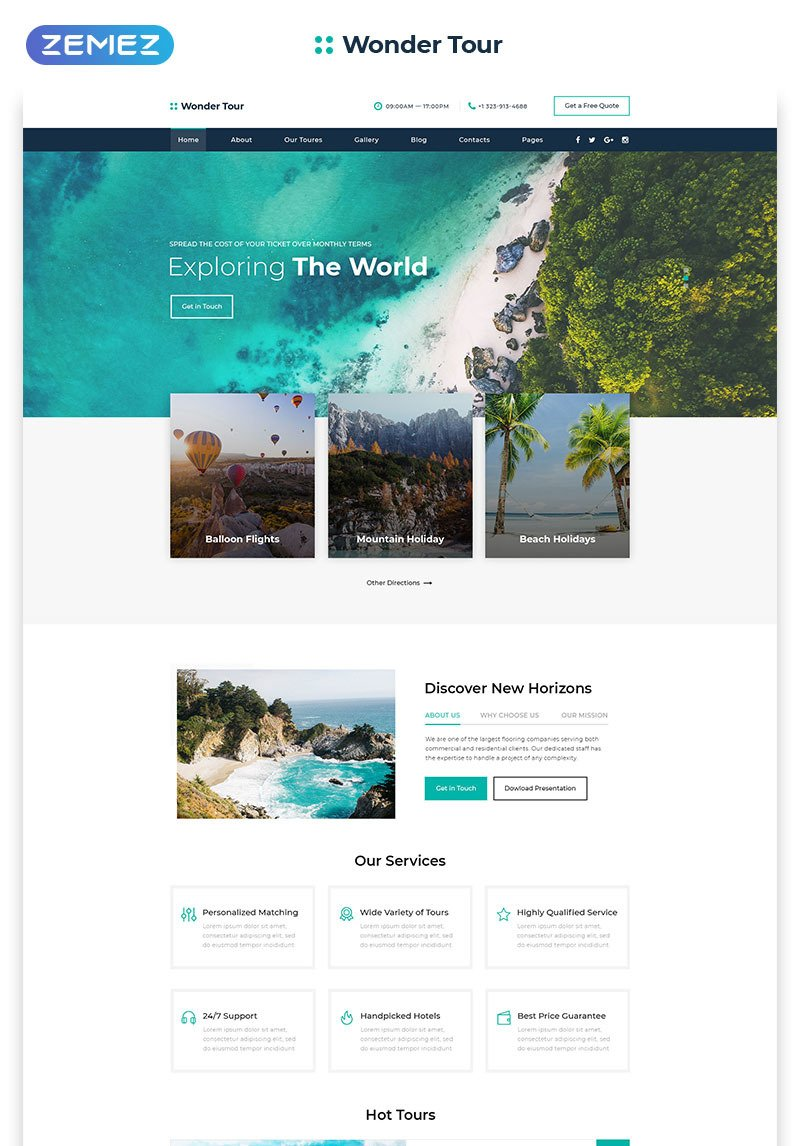Travel Agency Website >> Wonder Tour Travel Agency Multipage Html Website Template