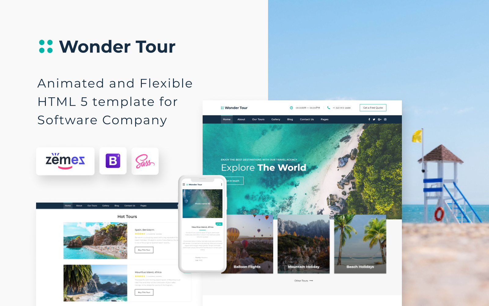 """Wonder Tour - Travel Agency Multipage HTML"" 响应式网页模板 #58200"