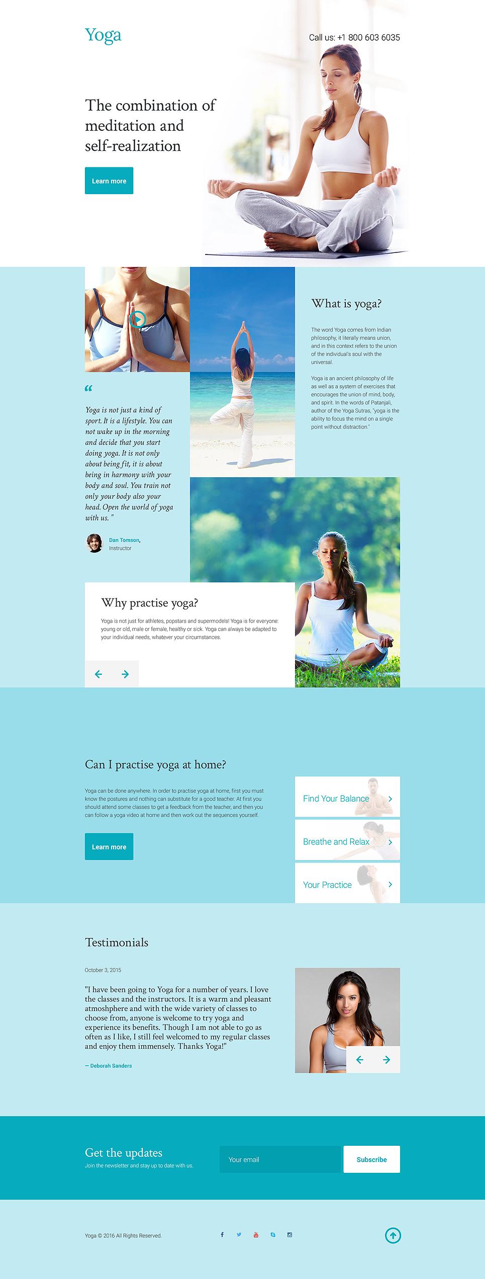 Contemporary Free Yoga Website Templates Sketch - Example Resume ...