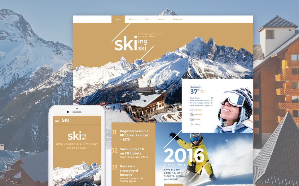 Skiing template illustration image