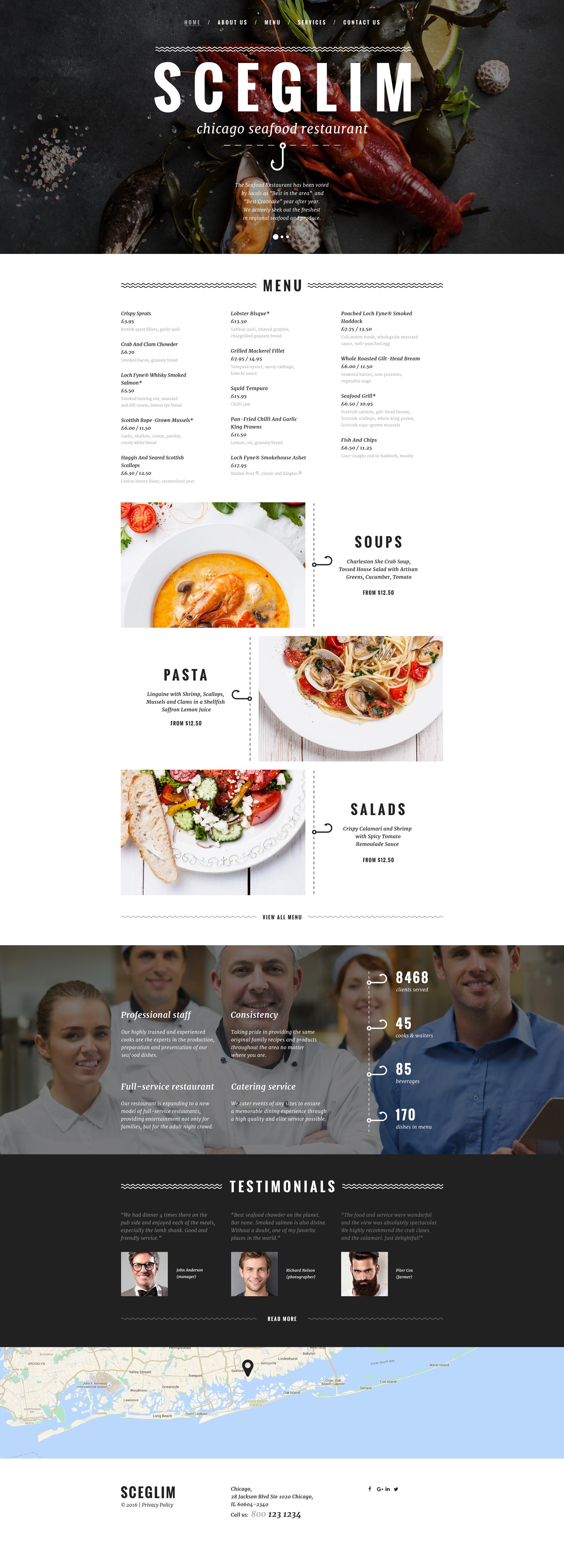 Адаптивный HTML шаблон №58366 на тему ресторан морепродуктов