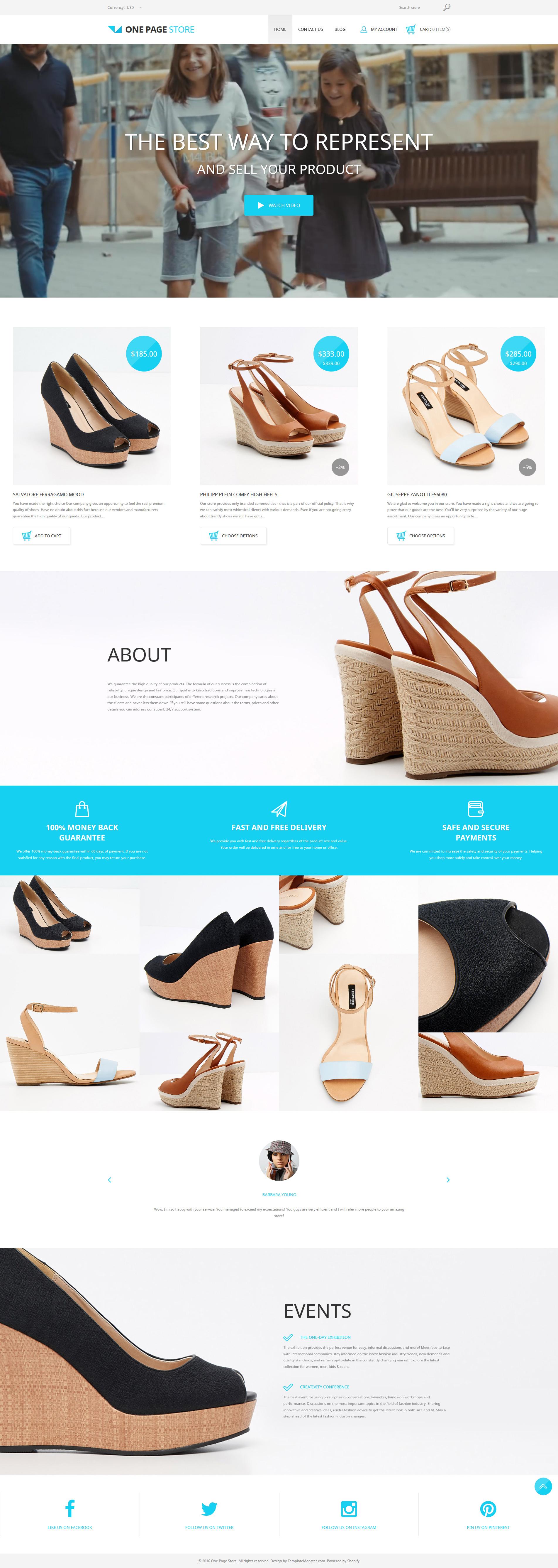 Адаптивный Shopify шаблон №58373 на тему магазин обуви