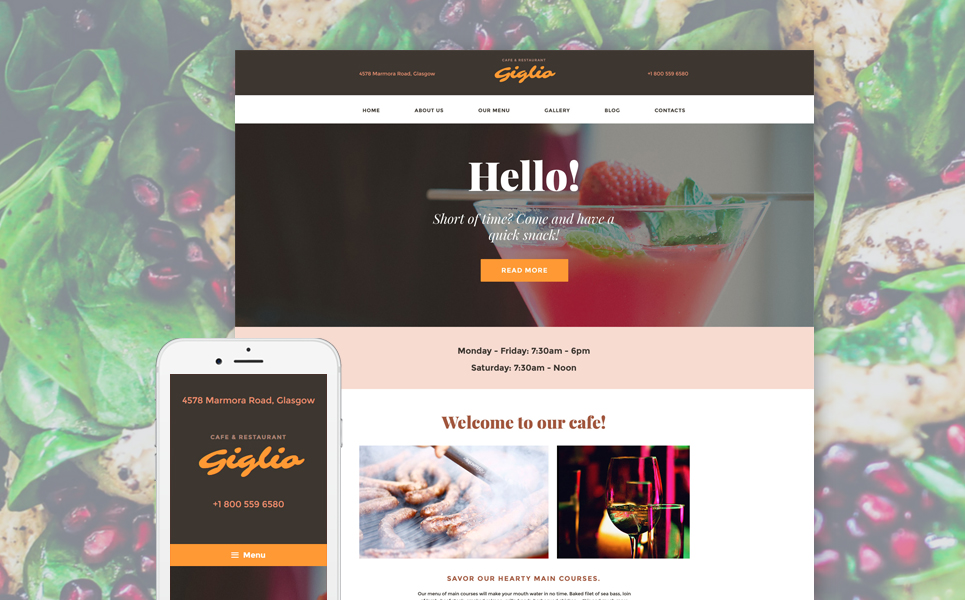 Адаптивный шаблон сайта на тему кафе и ресторан #58390