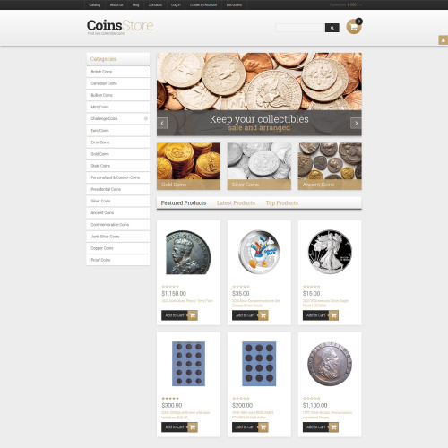 Coins Store - VirtueMart Template based on Bootstrap