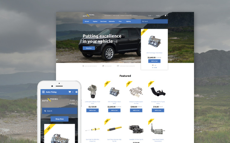 Auto Fixing OpenCart Template New Screenshots BIG