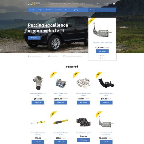 Auto Fixing - OpenCart Car Repair Template based on Bootstrap