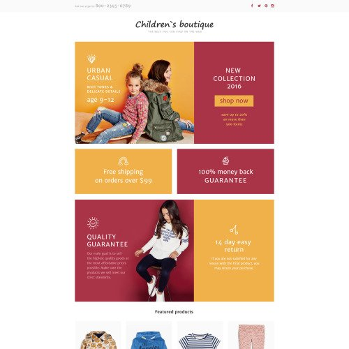 Children's Boutique - Responsive Landing Page Clothing Store Template
