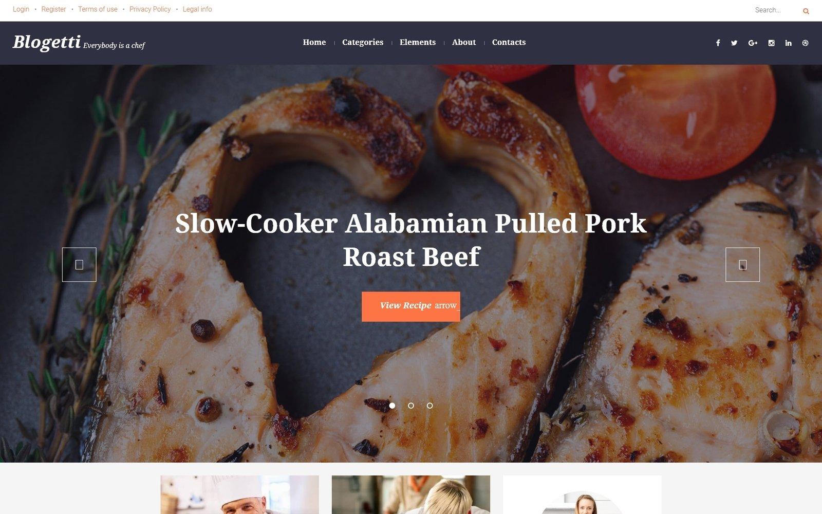 """Blogetti - Restaurant Blog"" - адаптивний WordPress шаблон №58395"