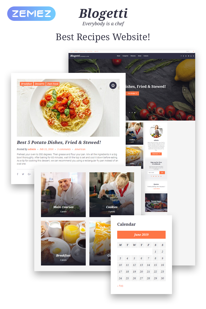 """Blogetti - Restaurant Blog"" Responsive WordPress thema №58395 - screenshot"