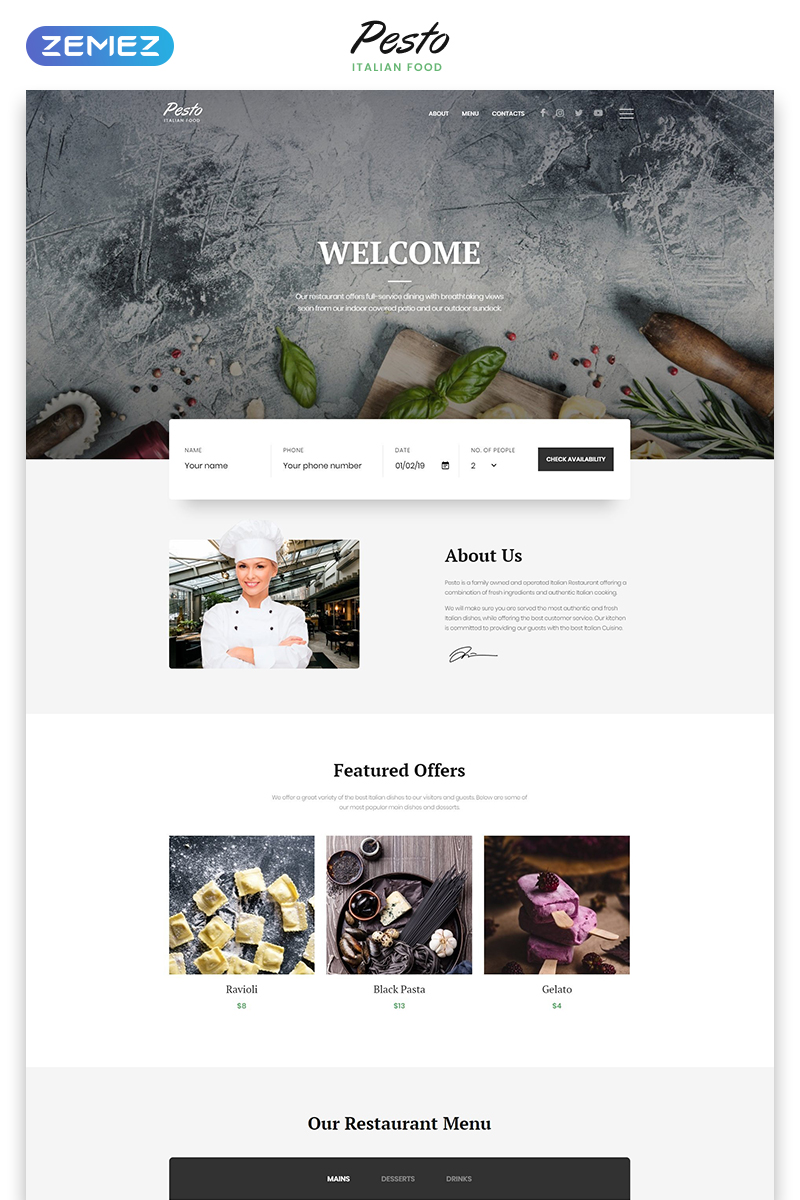 Cafe And Restaurant Responsive Website Template 58360
