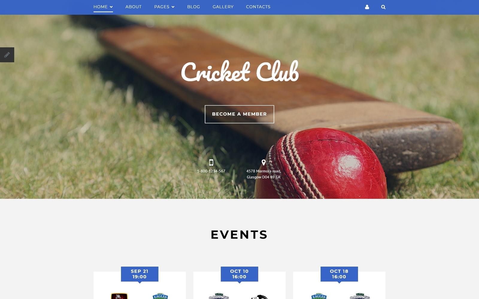 """Cricket Club Joomla Template"" Responsive Joomla Template №58317"