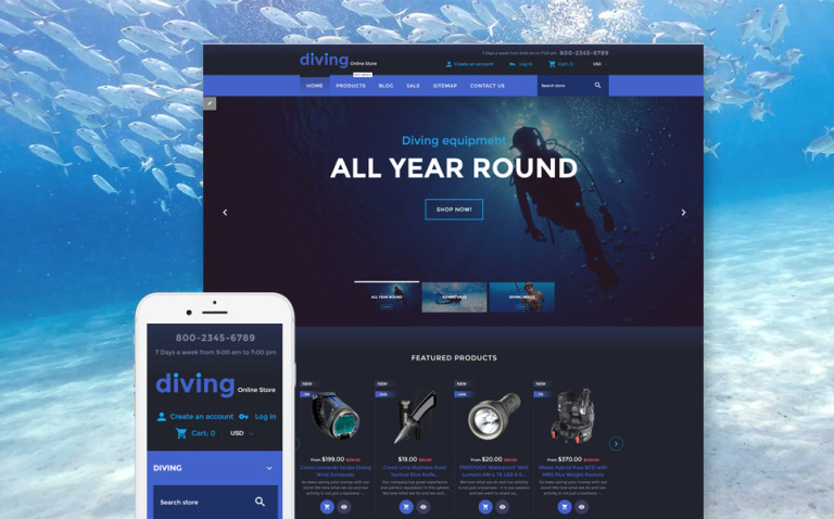 Diving Online Store Shopify Theme New Screenshots BIG