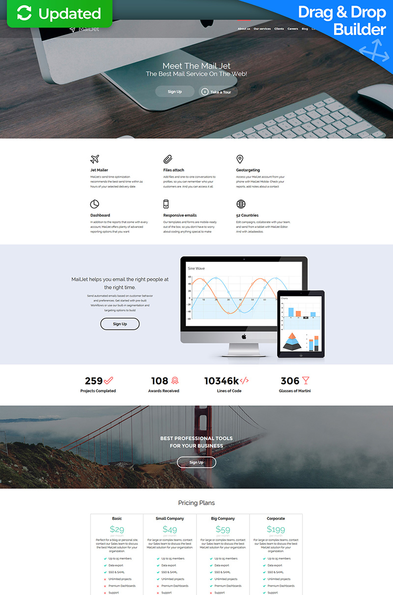 Email Services Responsive Moto CMS 3 Template - screenshot