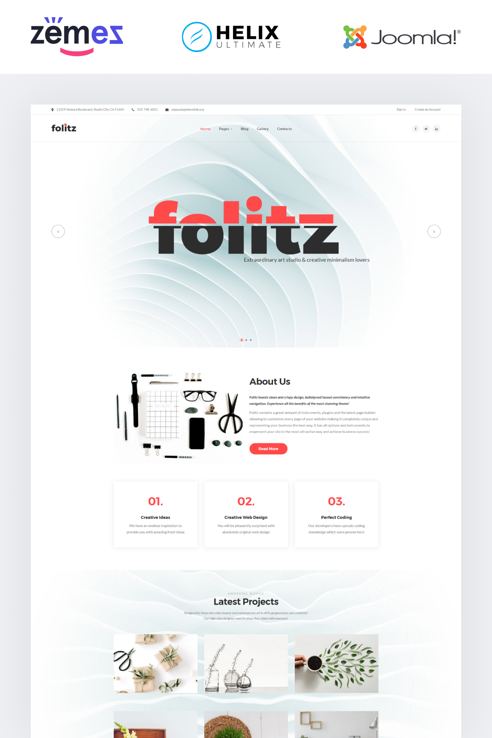 Folitz - Art Studio Minimalistic Joomla Template