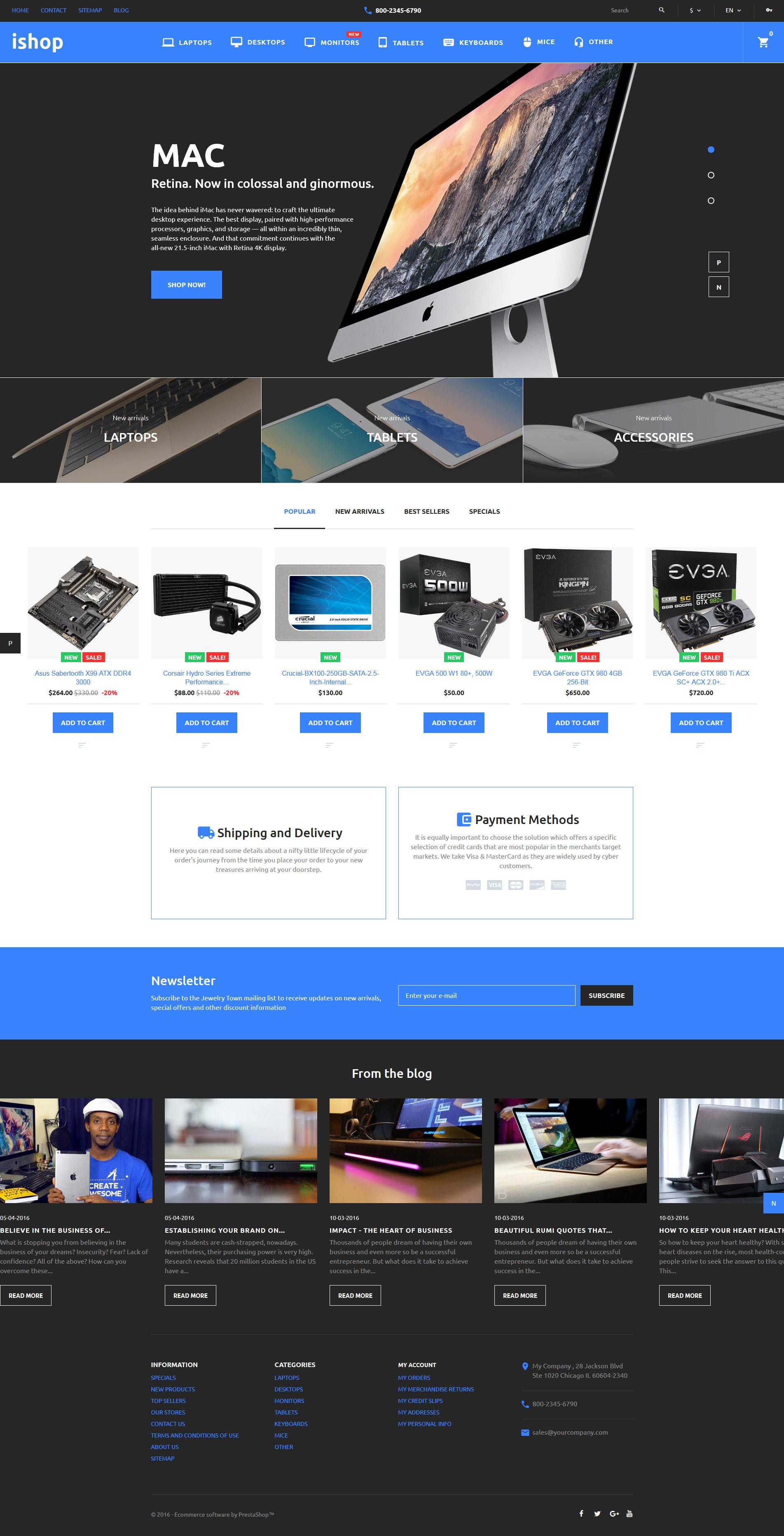 """iShop - Computer Store"" 响应式PrestaShop模板 #58375"