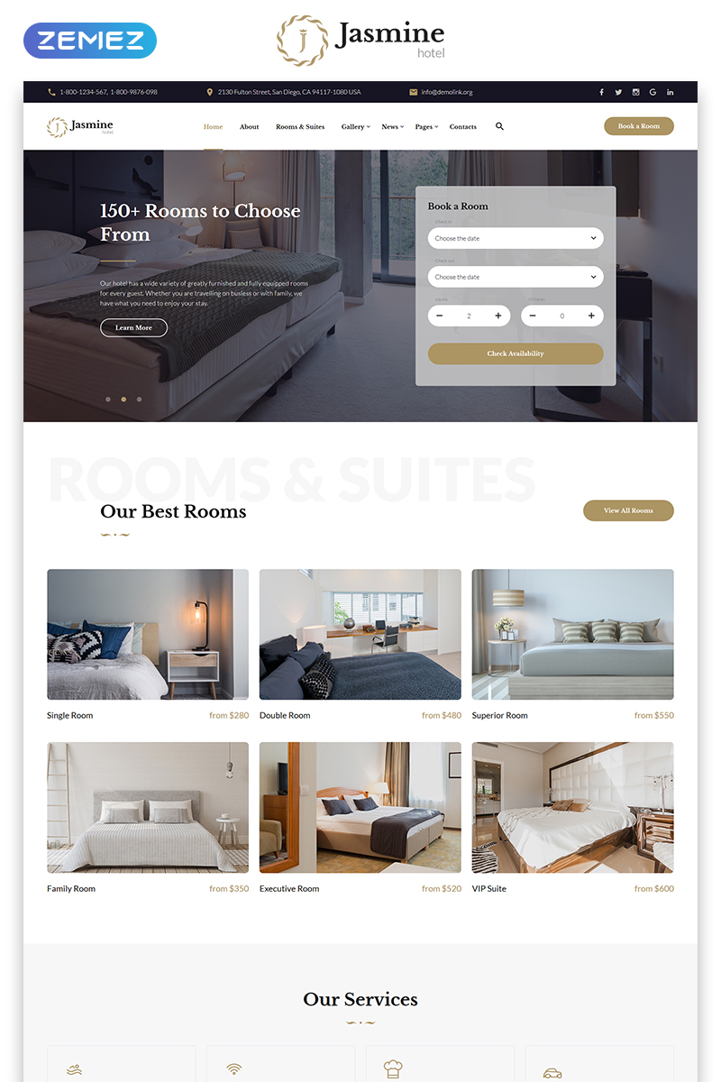Jasmine - Hotel Classic Multipage HTML5 Website Template