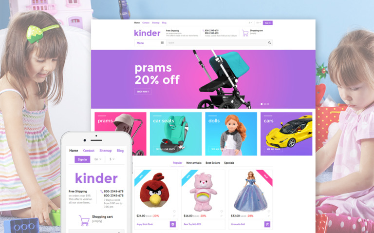 Kinder PrestaShop Theme New Screenshots BIG