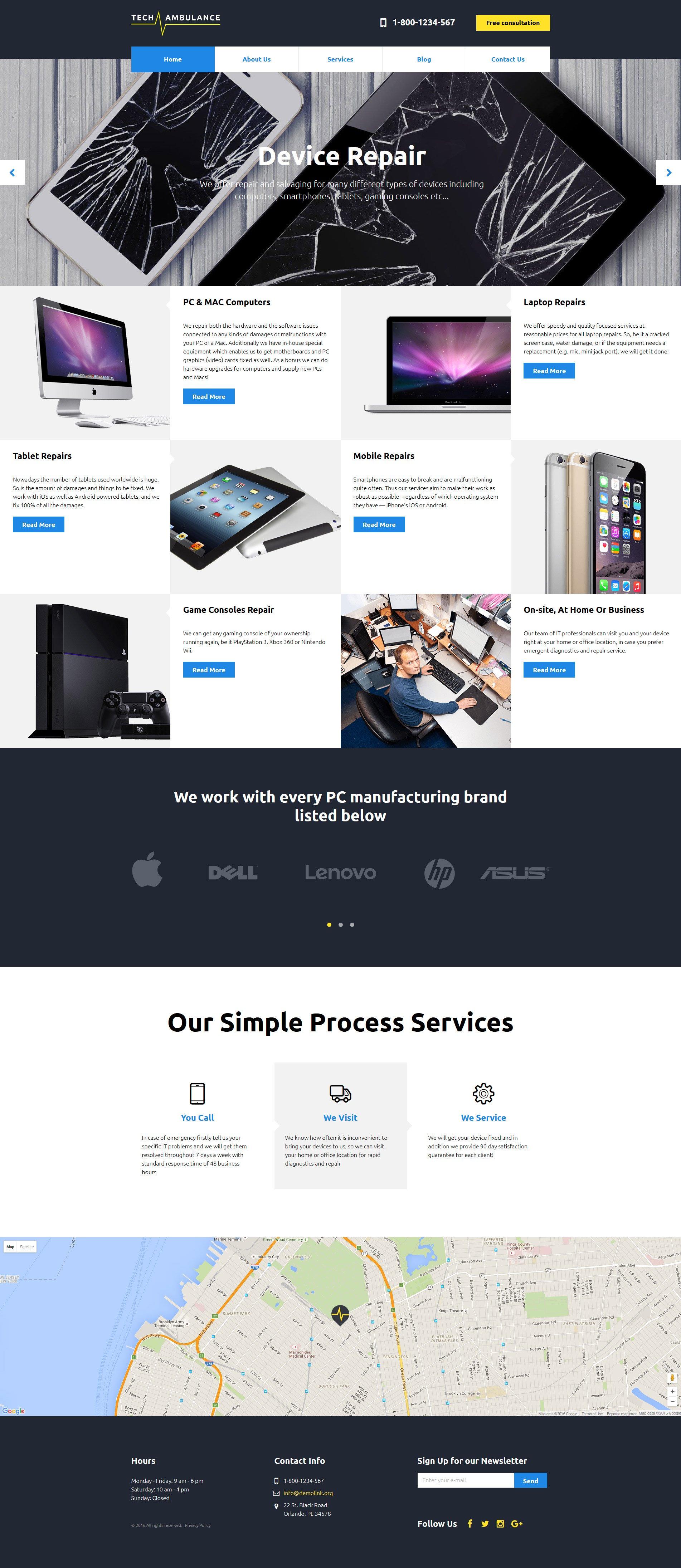 "Modello Siti Web Responsive #58310 ""Tech Ambulance Responsive Website Template"""