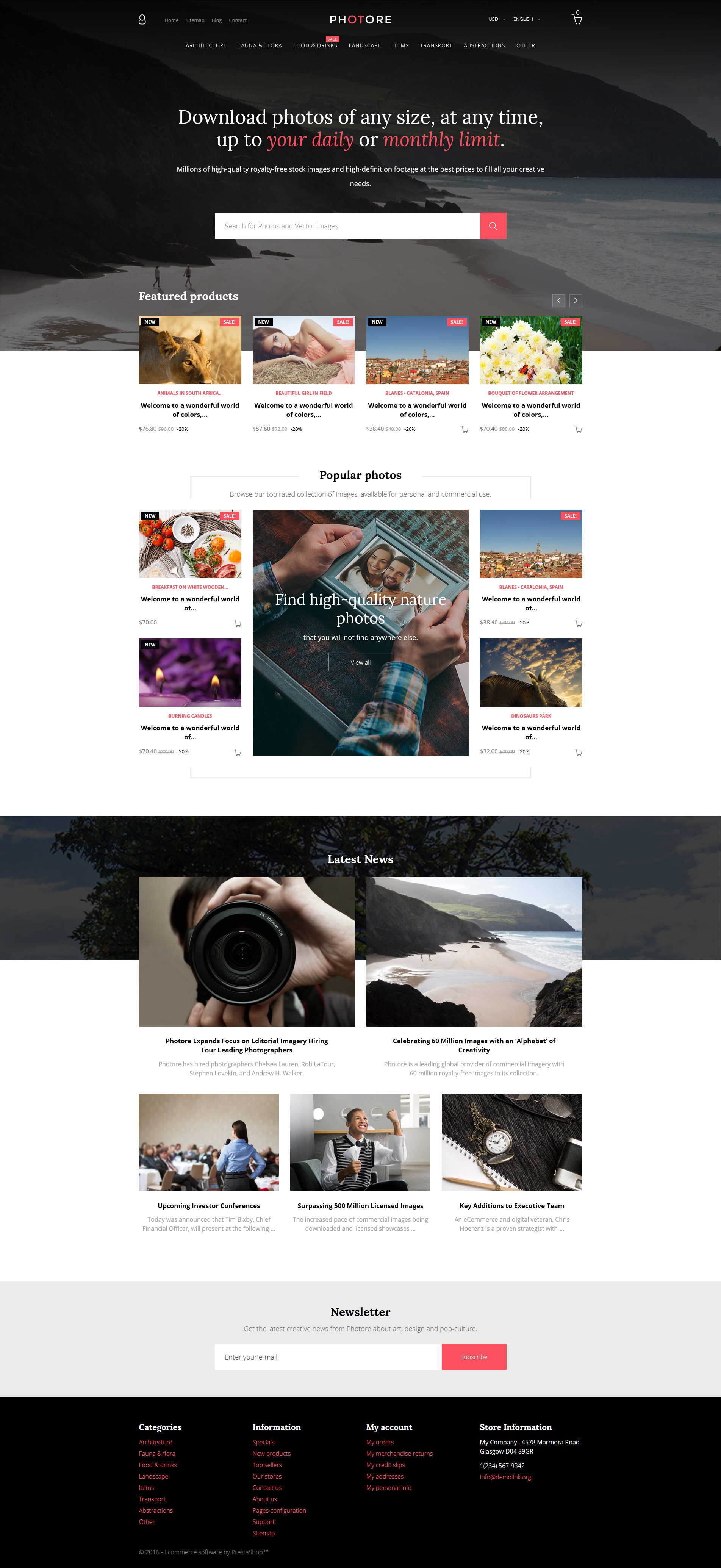 Photore - Stock Photo PrestaShop Theme