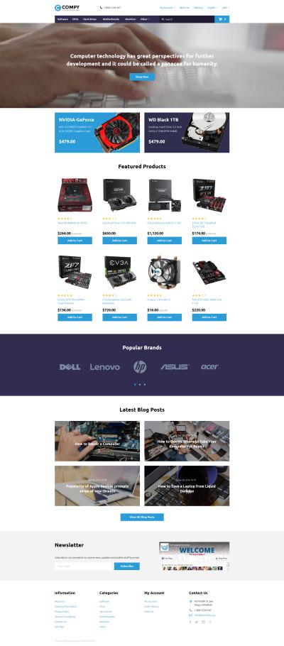 Responsive Plantilla OpenCart #58339 para Sitio de  para Tienda de Ordenadores