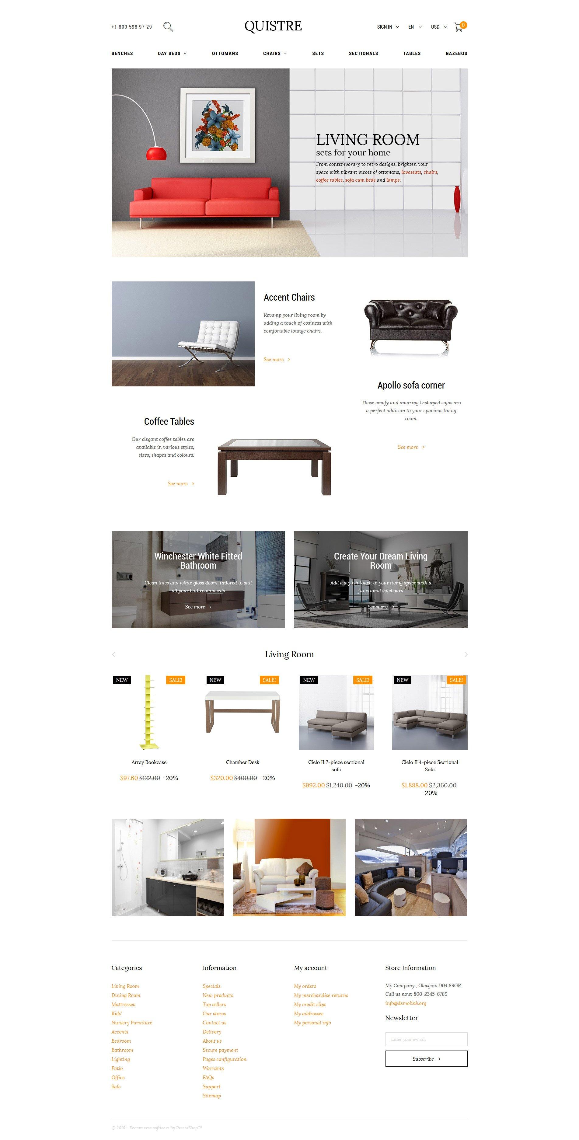 Quistre - Interior PrestaShop Theme - screenshot
