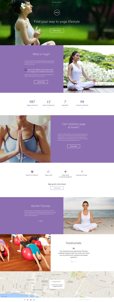 Responsives Landing Page Template für Yoga