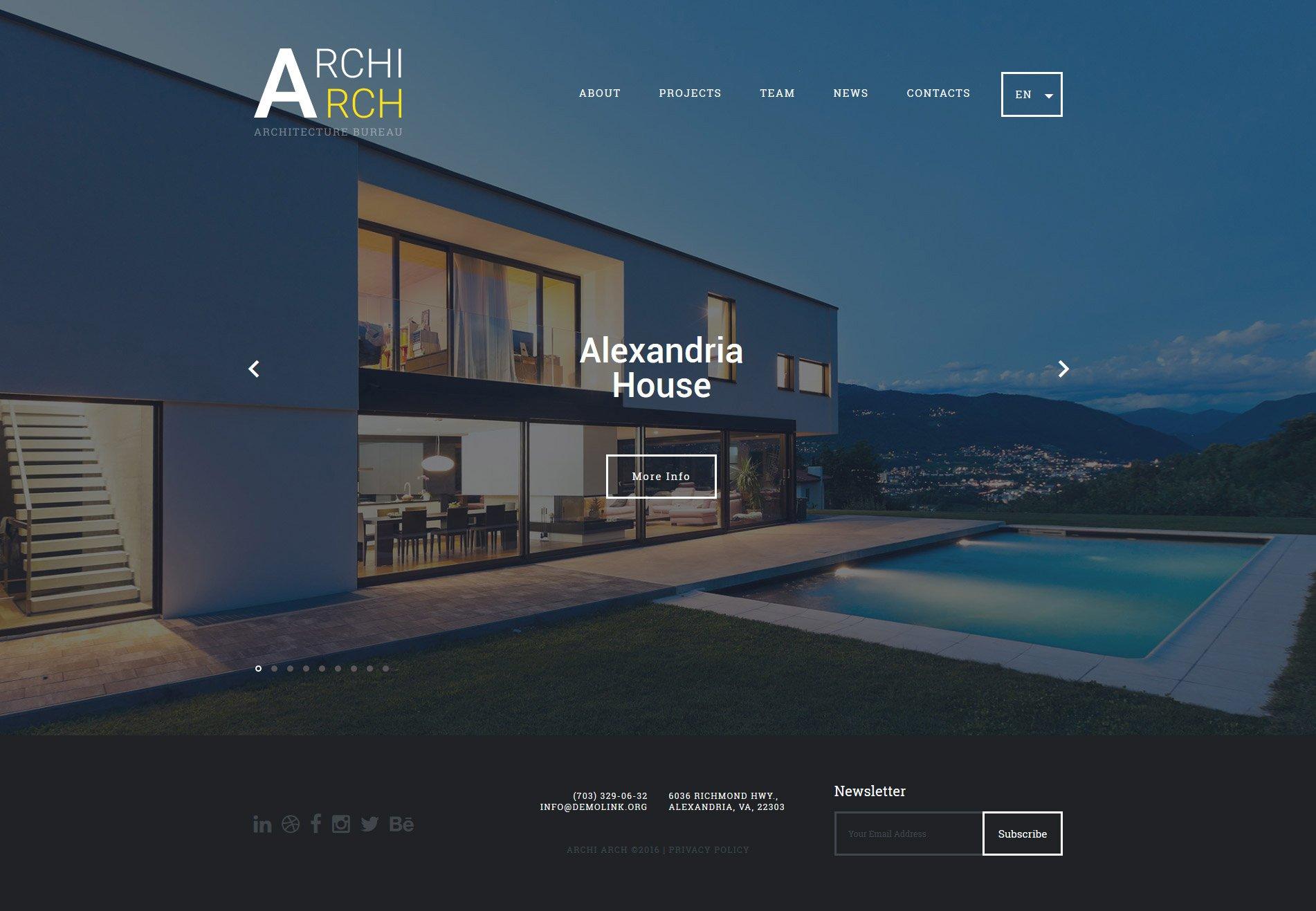 Responsivt ArchiArch Hemsidemall #58314 - skärmbild