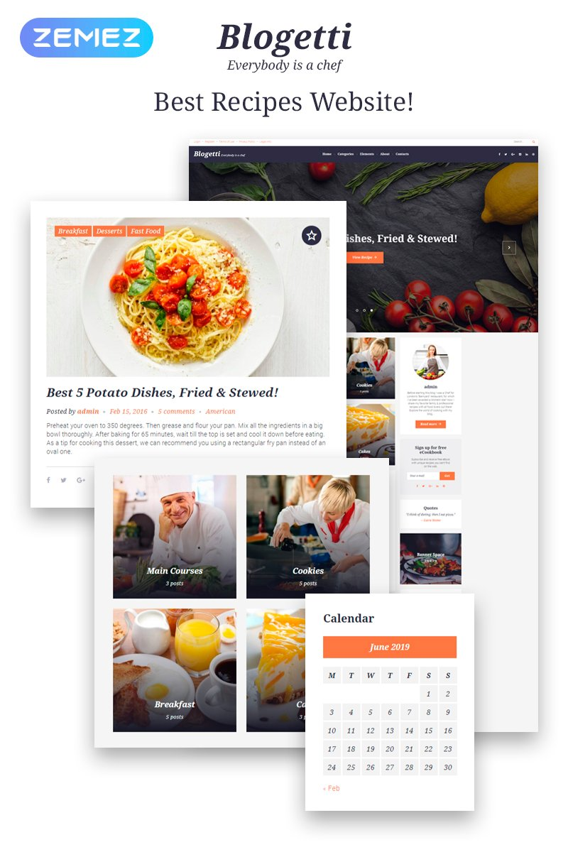Responsywny motyw WordPress Blogetti - Restaurant Blog #58395