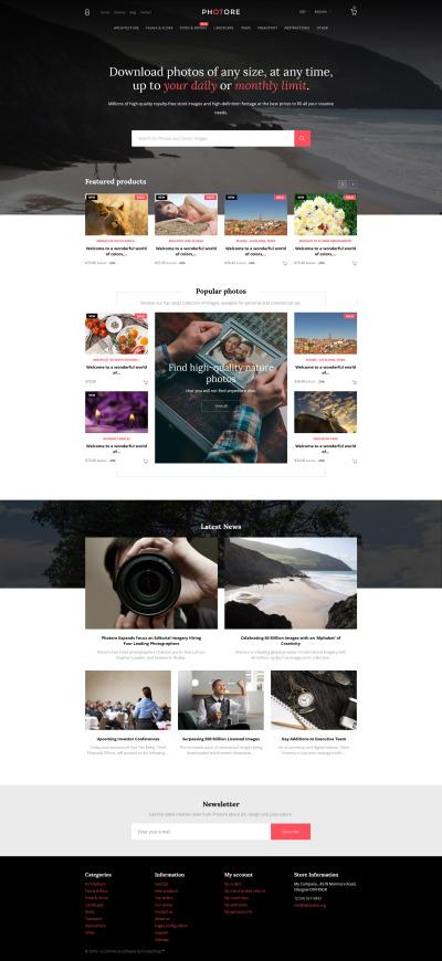 Responsywny szablon PrestaShop #58376 na temat: portfolio fotograficzne