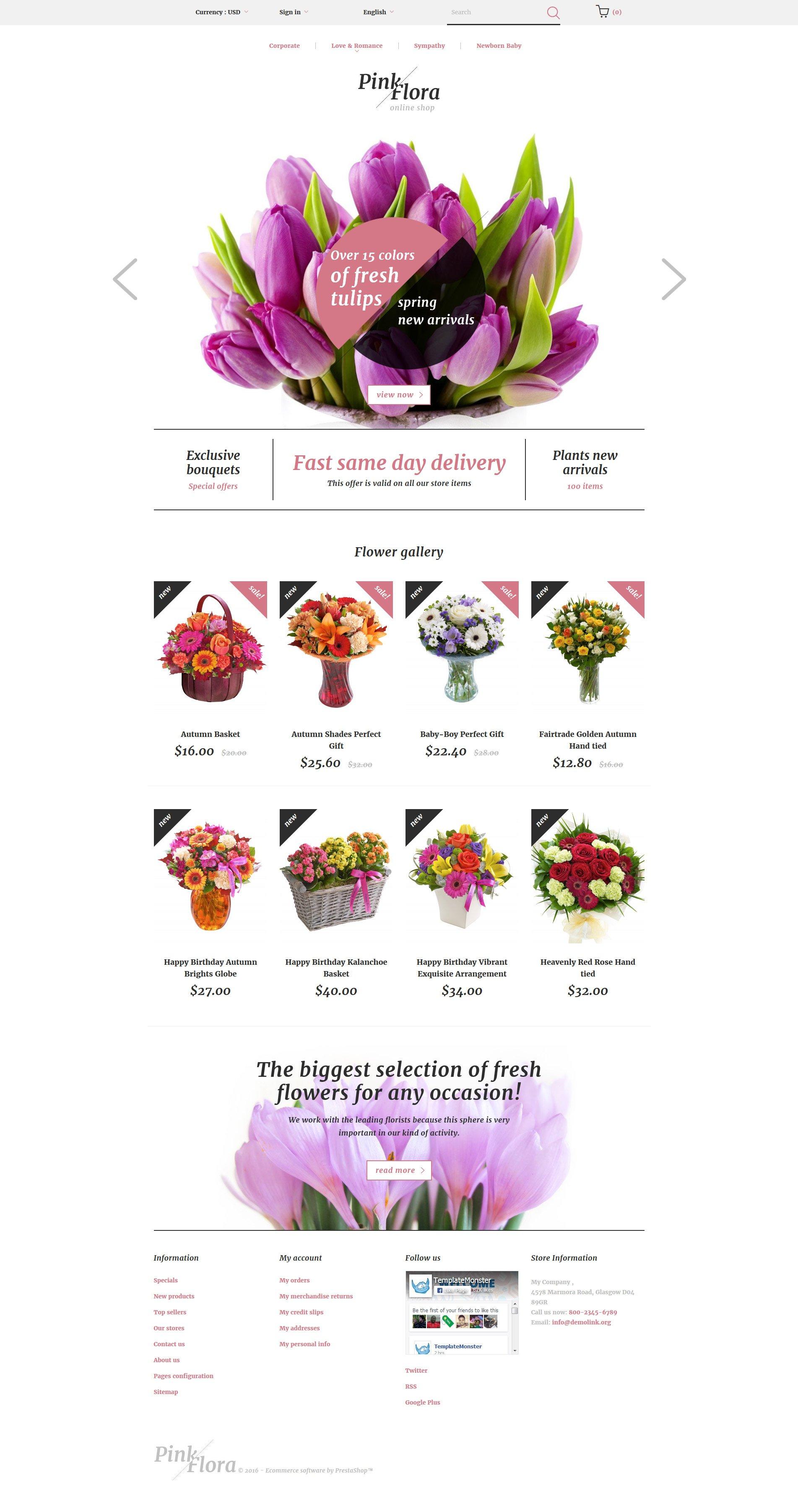 Responsywny szablon PrestaShop Pink Flora #58383