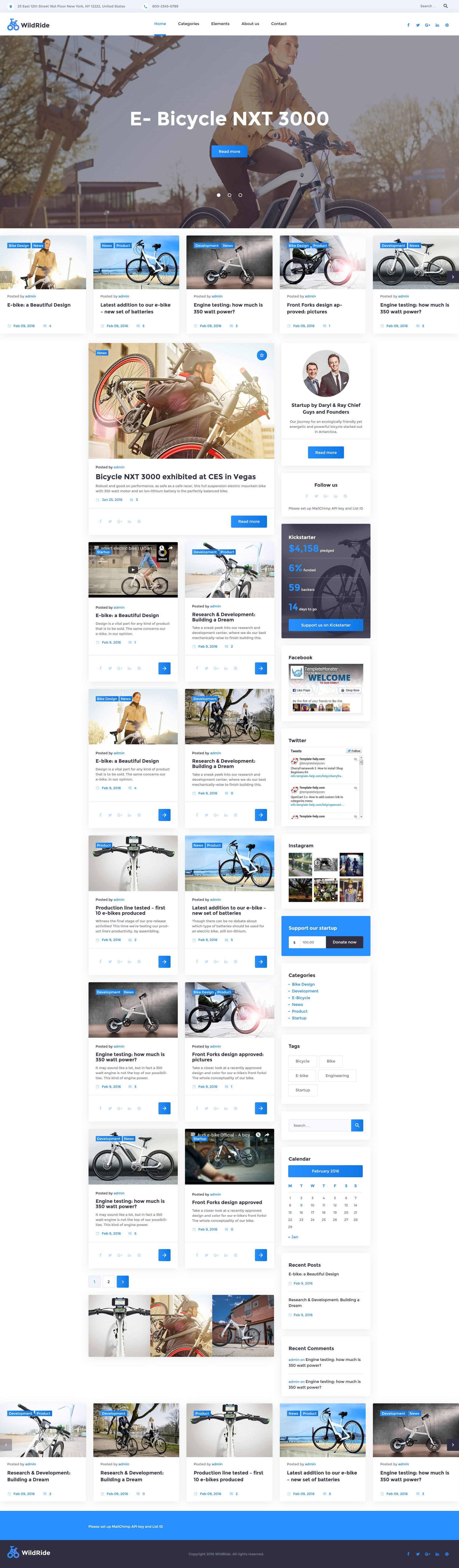 "Responzivní WordPress motiv ""WildRide - Sports Bicycle"" #58378"