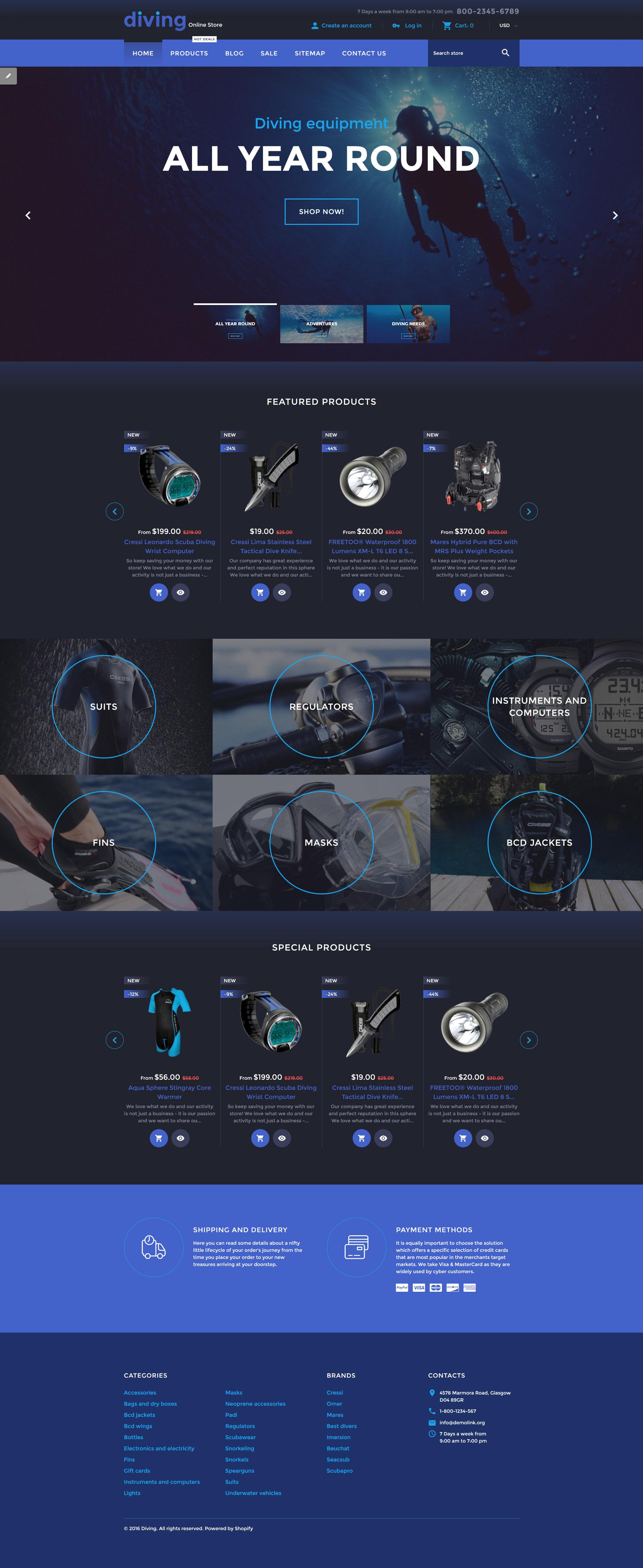 Reszponzív Diving Online Store Shopify sablon 58308